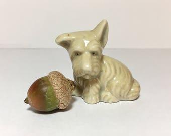 Vintage Scottie Dog Figurine 1930s Era Blonde White