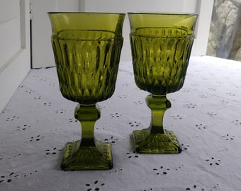 2 Mount Vernon Green Wine Glasses - Indiana Glass - 1960's-80's