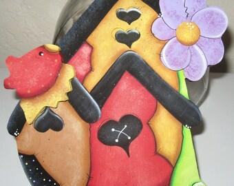 Birdhouse decor,Cookie Jar Lids,Wood Cookie Lids,Whimsy Birdhouse,Kitchen Decor,Table centerpieces,Wood Birdhouse,Tole Painted Gifts