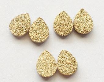 Gold Druzy, Titanium Drilled Gold Druzy, Matched Pairs, Pear Druzy, Druzy Jewelry, Gold Druzy Cabochon, Druzy Beads, 2 Pieces, 16x12mm Each