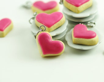 Heart Cookie Charm, Pink Heart, Polymer Clay Food, Heart Cookie, Miniature Food, Miniature Food Charm, Stitch Marker, Food Jewelry,Valentine