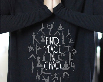 Find Peace In Chaos - RIBBED LONG SLEEVE -  I Love Yoga - Yoga Long Sleeve- Yoga Top - Yoga Tops - Yoga Shirt - Yoga Shirts - Nature Shirt