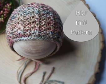 PDF Knit Pattern#0091 The Kelyn Knit Bonnet Newborn Knit Pattern PDF Tutorial Beginner Advanced Instruction Newborn Photography Prop Dk Yarn
