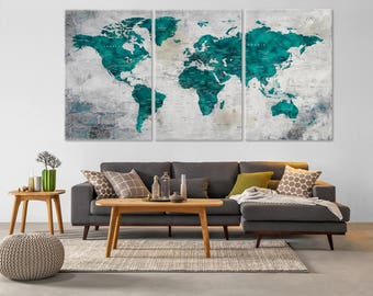 World Map Canvas, Push Pin Travel Map, Large Canvas, Living Room Decor, Home gift, Housewarming Gift, Wall Decor, Home Decor, Turquoise Map