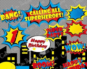 Superhero clipart, comic book clip art(S006), Superheroes clipart, Superhero Party /Super Hero bubble /Superhero pop art / INSTANT DOWNLOAD