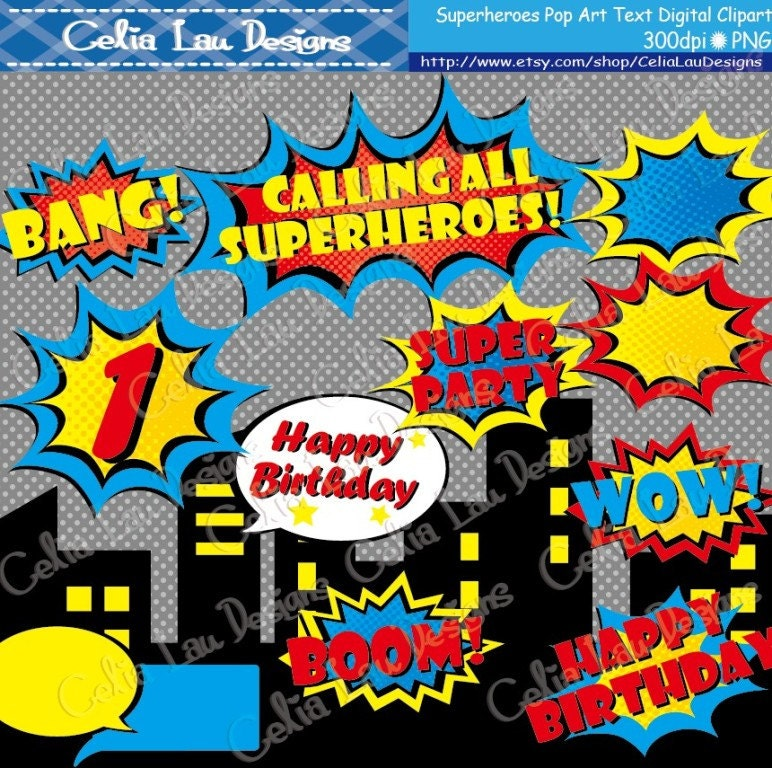 Superhero Design With Buildings And Bubble Clipart