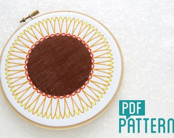 Sunflower Embroidery Pattern, Flowers Embroidery Tutorial, Woven Needlework Download, DIY Hoop Art Pattern, Summer Embroidery PDF Pattern
