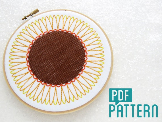 Sunflower Embroidery Pattern Flowers Tutorial Woven Needlework Download DIY Hoop Art Summer PDF From OhSewBootiful