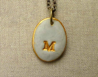Small Letter Necklace in Vintage Gray and Gold - Soft and Dreamy