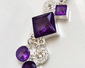 new stock sterling sillver 925 articulated hinged amethyst glass rhinestone pendant