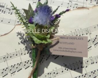 Thistle buttonhole corsage single blue