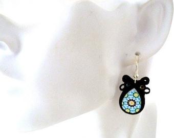 small black dangle  earrings  , azulejo bead embroidered soutache jewelry  , bridesmaid gift , dark charcoal , azure beryl , royal blue