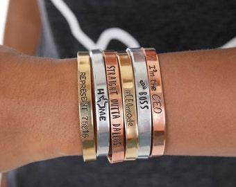 Girl Boss Mantra  - Engraved Custom Cuffs - Personalized - Hand Stamped Bracelets - Gifts for Her - Unique Gifts - Expressions Bracelets