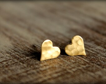 Hammered Heart Earring Studs, Available in Raw Brass or Silver Plated Brass, Stainless Steel Posts