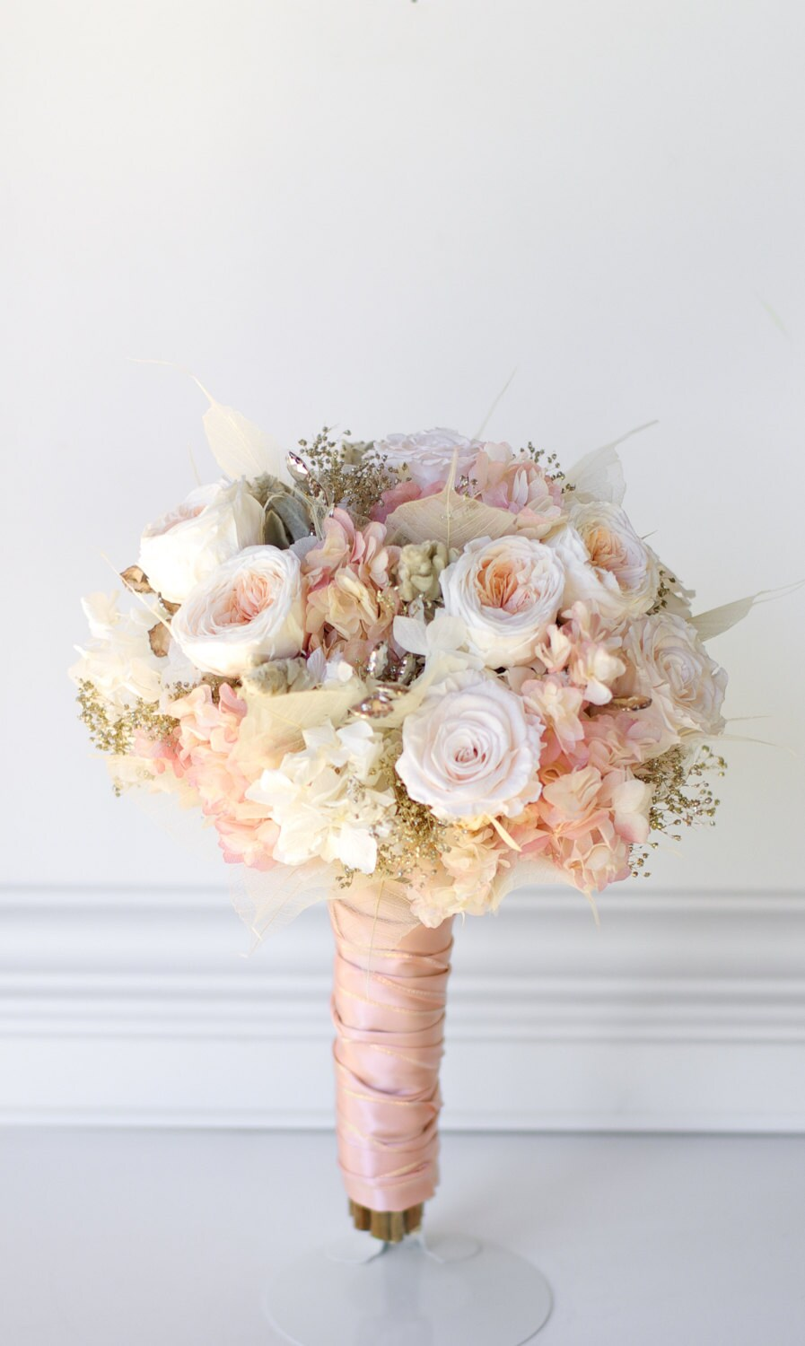 Rose gold bridal bouquet preserved flowers not dried zoom izmirmasajfo Images