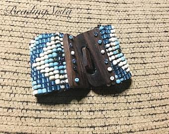 Cuff Beaded Bracelet - Wood Clasp - Bracelet - Wide Cuff - Boho - Bohemian