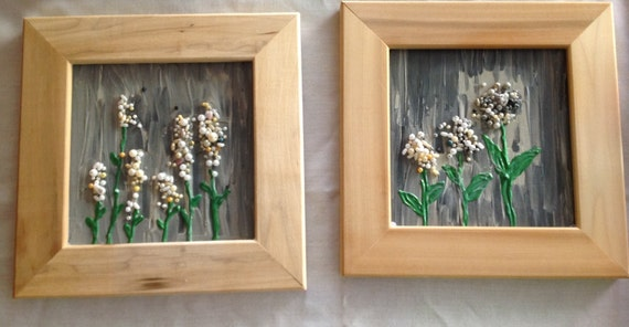 Set of 2 Hand made Fake pearl and 3 d acrylic painted canvas framed