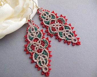Christmas gift idea, Lace tatting earrings, tatted jewelry, long tatting earrings, Clothing Gift , handmade jewelry, frivolite.