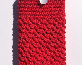 Candy Apple Red Crocheted Mobile Phone Case Sleeve with Button