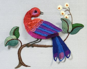 Raised Embroidery Kit - BLUE TAILED WHISTLER