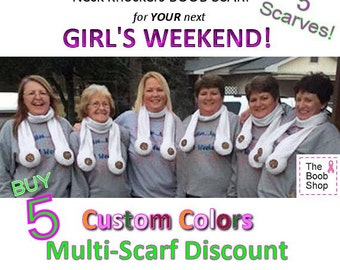 5 regular BOOB SCARVES - 15% off Multi Boob Scarf order. Team accessories, Breast Cancer aware, Dirty Santa Gift, Boys weekend, Bachelorette