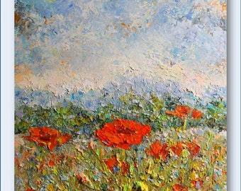 REDUCED PRICE- Poppy Field- Original Oil  Painting
