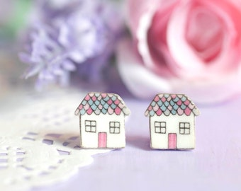 Cottage Earrings - Enjoy the Little Things Collection - Cute Little House Studs