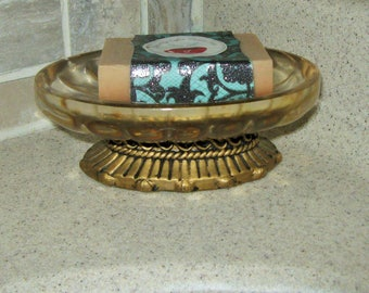 Gold and Clear Ornate Soap Dish * Romantic Art Deco Style Bathroom Accessory * Gold Swirl Pattern
