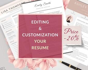 Personal Editing / Customization- Resume Template  by MyStylish Design