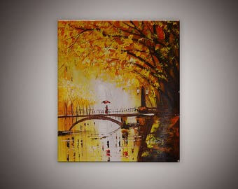 "Acrylic painting""Autumn at Konigsalle"",Dusseldorf-modern city paintings by Netanel Moses"
