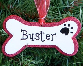 Personalized holiday dog bone ornament