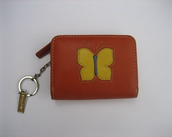 Vintage 90's FOSSIL Orange Leather Mini Wallet w/ Key Chain & Multiple Compartments