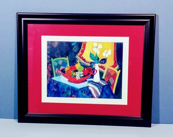 """13 x 16 Itzchak Tarkay Wood Framed Matted Art Print Still Life Artist Painting Reproduction """"Too Cold at Home"""" Country French Impressionism"""