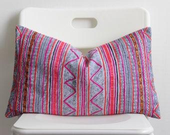 Boho Bohemian VINTAGE HMONG Textile Batik Tribal Ethnic Piece Tradition Costume Indigo Pink Pillow Case