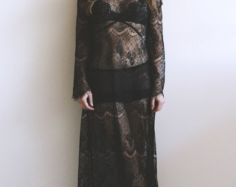 Less Is Amor Calvin Lace Slip Gown. Slip Dress, Lace Dress, Evening Gown, Lace Gown.