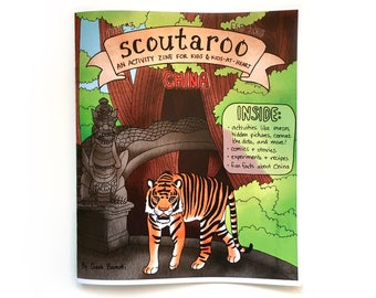 Scoutaroo Zine #3: China || Activity Book for Kids Learning Play Children's Book Coloring Mazes Educational Hand Made Comics