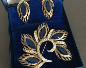 Brooch Pin Clip On Earrings Set Vintage Sapphire and Clear Paste Stones