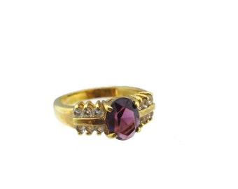 Vintage 14k HGE Gold Oval Amethyst Austrian Crystal Ring Size 8