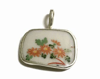 Broken China Jewelry, Flower Pendant,  Sterling Silver Necklace,  OOAK, Chaney, Upcycled Jewelry, Broken Plate, Dish, Orange