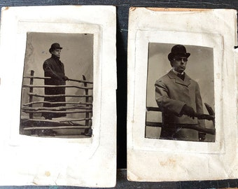 2 Haunting Tintypes of Man in Coat and Bowler Hat in Front Of Wood Fence Circa 1890's