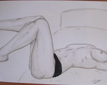 """drawing of nude female erotic portrait """"Relaxing"""""""
