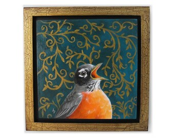 Singing Robin art - American robin painting - spring bird artwork decor - robin redbreast gold framed wall hanging - wildlife nature art