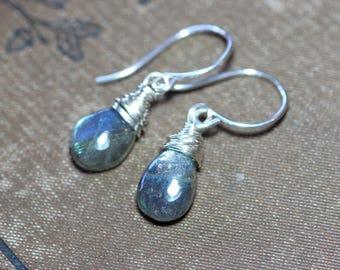 Labradorite Earrings Sterling Silver Wire Wrapped Labradorite Briolette Earrings Luxe Rustic Jewelry