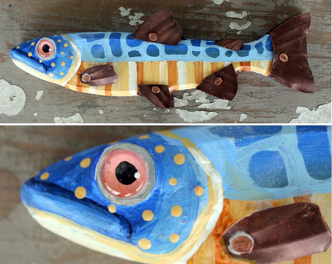 "Julius, 8"" Trout Minnow, Fun Hand-Painted Wood Fish Wall Art, Copper Fins, Colorful Folk Art, Made in Vermont, Fish Sculpture, Unique Gift"