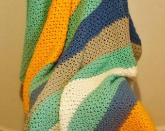 Handmade to order Chunky Crochet Colour Block Blanket Throw