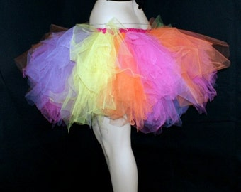 Candy Neon Rainbow Ragged Torn TuTu  Adult ALL SIZES MTCoffinz