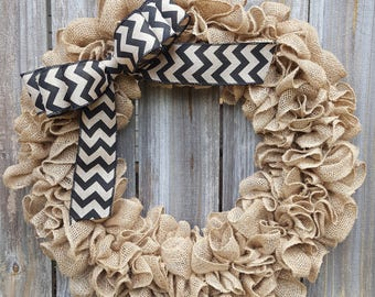 Burlap Door Wreath, Chevron Wreath, Black Burlap Wreath, Wreath for Door, Chevron Decor, Black Wreath, Wreath with Bow, Front Door Wreath