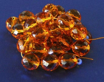 12mm Faceted Honey Glass Beads, Golden Czech Fire Polished Beads, Round Beads, Light Topaz, Amber Glass Beads (BGFPH-030817) - 15 Pieces