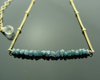 Genuine Blue Raw Rough Diamond 14k Gold Filled or Sterling Silver Necklace