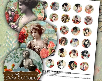 Beauty in Roses Digital Collage Sheet 30mm Circle Images Burlesque Collage Sheet Flower Images Printable Collage Jewelry Supply Circle Image